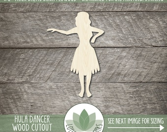 Hula Dancer Wood Laser Cut Shape, Hula Girl Coutout, Blank Wood Shapes, Unfinished Wood For DIY Projects, Hawiian Party Decor