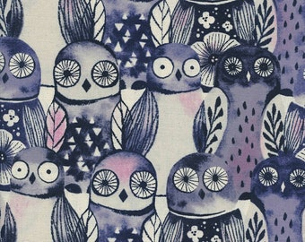 Cotton + Steel Eclipse - Wise Owl in Night - Unbleached Quilting Cotton - Sarah Watts - Fabric by the Yard - Blue Owl Fabric