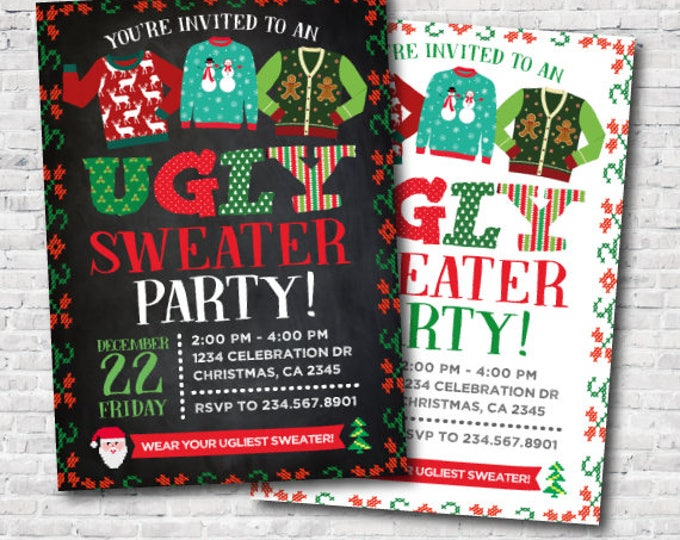Ugly Sweater Party Invitation, Holiday Party Invite, Christmas Party, Personalized DIGITAL Invitation