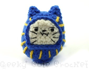 Blue Daruma Neko Doll Plush Toy Amigurumi Cat