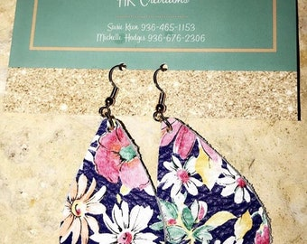 Genuine Leather Floral Earrings