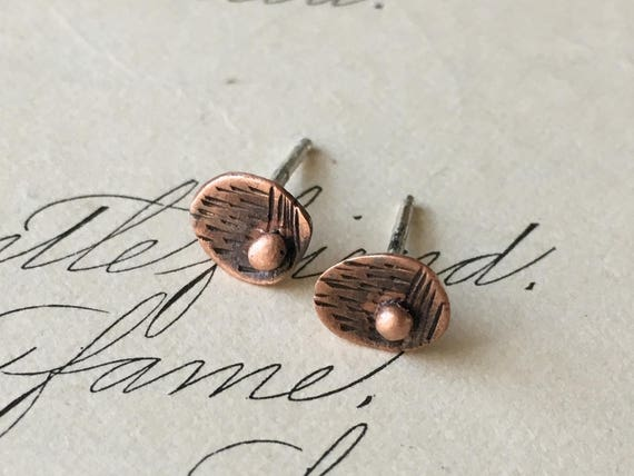 Mid Century Modern Earrings, Wabi Sabi Earrings, Copper Studs, Teeny Tiny
