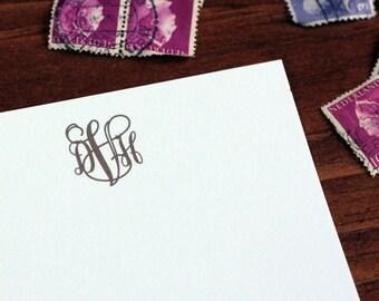 Mary Monogram Stationery Set - Blank Flat Note Cards - Set of 16
