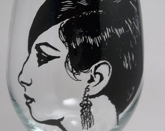 Barbra Streisand, Hand Painted Glass, Painted Wine Glass