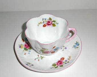 Shelley Fine Bone China Cup and Saucer - Rose and Red Daisy
