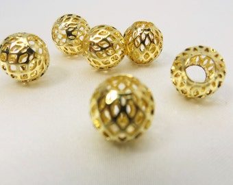 6 Large 4mm hole Shiny Gold round filigree lacy looking beads