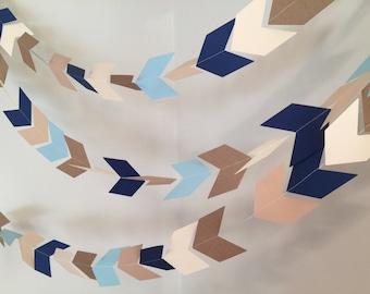 Arrow Head garland - Chevron banner - boys Woodland Party decor - Camping birthday garland - Baby Shower decor- your color choices