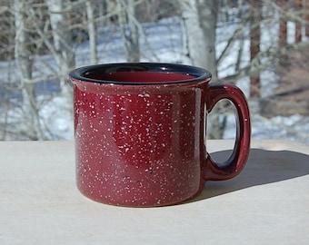 Porcelain Granite ware Mug Speckle Ware Large Heavy Burgundy