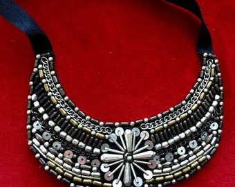 Beaded embroidery bib necklace with silver sequins. (Stock no. 18)