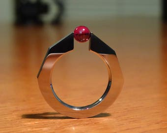 Handcrafted stainless steel ring with tension-mounted ruby ball, simple design red stone solitaire ring, Style A