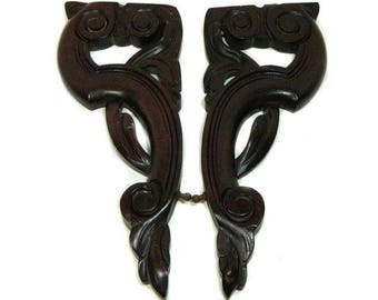 A Pair of 19th Century Antique Carved Mahogany Brackets Architectural Salvage