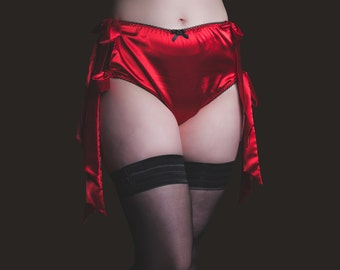 Satin High Waisted Tie Side Burlesque Knickers in bright red