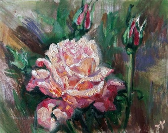 "Original Oil Painting, Pink Rose Flower, 9""x12"", 1804294"