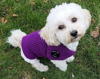 Purple dog sweater, handmade dog sweater, small dog clothes, Dachshund sweaters for dogs, Yorkie clothes