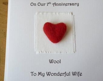 7th anniversary card wool 7 wedding anniversary card traditional handmade gift