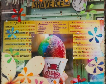 RAINBOW SHAVE ICE, Giclee, 8x8 and Up, North Shore, Haleiwa, Hawaii, Matsumotos, Orchids, Rainbow, gecko