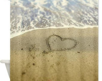 Shower Curtain, Heart In the Sand, Love, Coastal Art Ocean Ocean Sandy Beach Shower Curtain Photography, Bath Decor Powder Room Decor