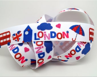 5 meters of Ribbon 22mm - the colors of LONDON