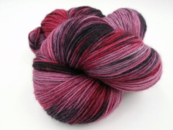Hand Dyed Yarn Hand Dyed Sock Yarn Superwash Merino Nylon Blend 80/20 Fingering Weight Yarn - Mauve Yarn Red Yarn Black Yarn - Black Cherry