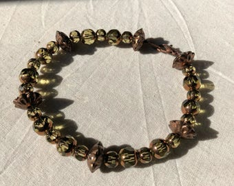 Glass and Copper Beaded Bracelet