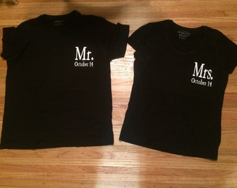 Set of 2 Mr and Mrs Shirt Wedding Day Shirts est. Date Couples Shirts Bride and Groom Shirts Just Married Blue Jay Vinyl PRIORITY SHIPPING LZwHh