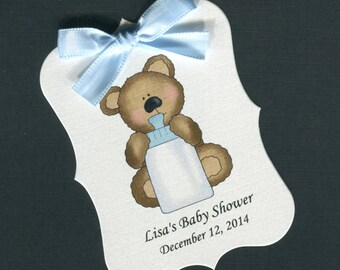 Personalized Baby Shower Favor Tags, teddy bear with blue bottle