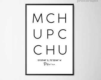 Machu Picchu City Printable Poster,City Print, Peru Wall Art, Minimalist Wall Art, Modern Home Decor, Minimalist Print, Scandinavian Print