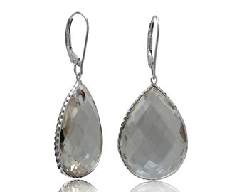 White Crystal 14K White Gold Hallmark Dangle Earrings