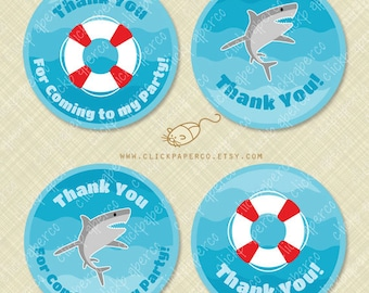 Shark Thank You Tags Printable favor tag Round Circle life preserver pool party instant download digital pdf treat bag dangerous water ocean