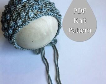 PDF Knit Pattern #0021  The Abigail Knit Bonnet, Newborn, Knit PDF Pattern, Tutorial, Knit Pattern, Beginner, Easy,Instruction,Newborn