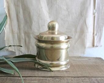 Vintage Solid Brass Lidded Canister
