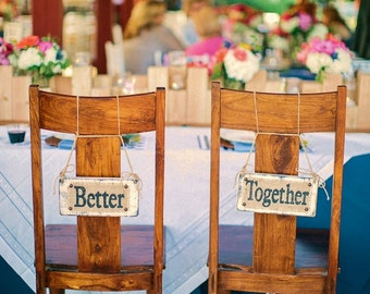 Burlap hanging Better Together signs, photo prop and reception decor, WEDDING DAY decoration