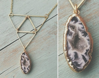 Geometric Brass and Agate Necklace (Natural Druzy Center)