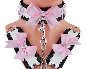 pink collar set kitten play collar cuffs and leash choker ddlg collar gothic punk kittenplay steampunk bdsm bracelet collar kitten goth JG1