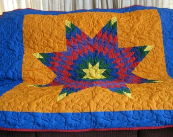 rainbow star lap quilt