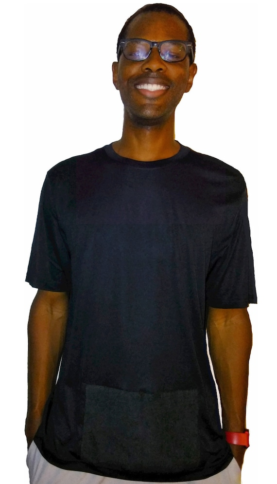 Sweaty Tee, Style 1, men's attached front panel, solid color tee