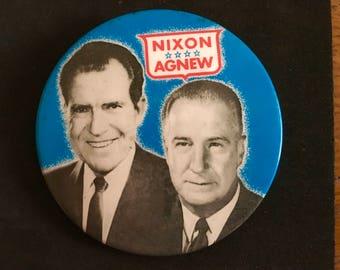 "Vintage Oversized 1968 Nixon Campaign Button - ""Nixon Agnew""/ 1968 Election/ President Nixon/ Nixon and Agnew"