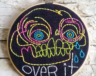 "pink & green OVER IT skull - 5"" hand embroidered wall hanging"