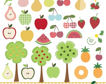 Fruit clipart,pears,apples,cherries,strawberries,watermelon,pineapples and trees , digital clip art set