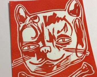 Cat and crossbones (original block print on cardstock)