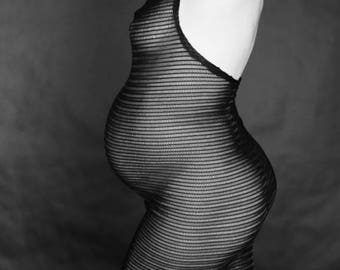 Black mesh maternity dress