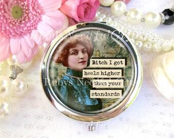 Diva Mirror, Silver Compact Mirror, cosmetic, handbag or purse mirror, bridesmaid gift, birthday gift, Vintage Diva, PMS, Standards.