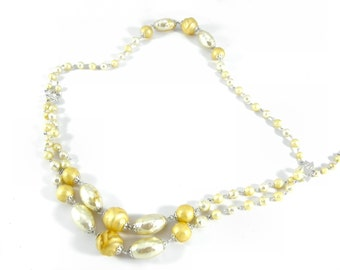 1950's Vintage Three Strand Faux Pearl Necklace