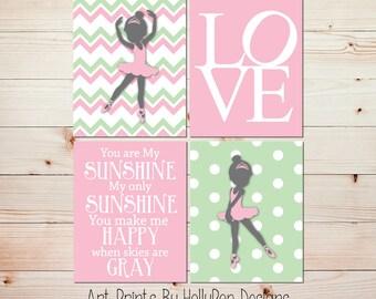 Girls room decor You are my sunshine art Ballet Prints Girl nursery decor Baby girl wall art Ballerina nursery art Pink green decor #1003