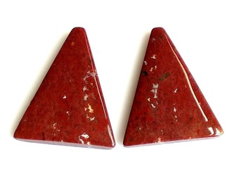 Bloodstone Jasper Fancy Cabochon, Natural Blood Stone Designer Cabochon Pair, 24x19 MM, Blood Jasper Gemstone, 24 Cts.