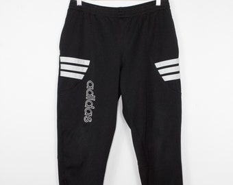 vintage adidas tapered jogger pants - black and white joggers - big logo