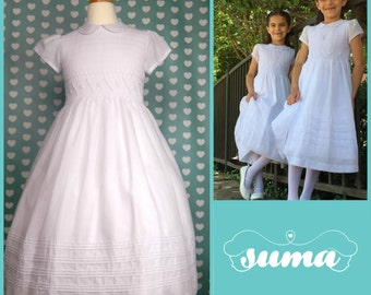 Cotton First Communion Dresses Cotton fabric, White Smocked flower girl dresses