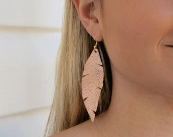 Hand Cut Leather Feather Earrings - Rose Gold Feather Earrings - Gold Dangle Feather - Camel Leather Feather - Black Feather Earrings
