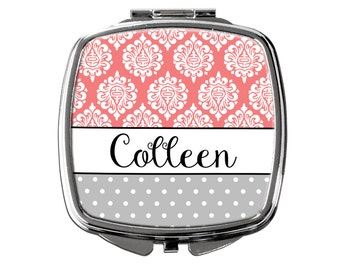 Personalized Compact Mirror - Coral & Gray Personalized Bridesmaids Gifts - Personalized Purse Mirror