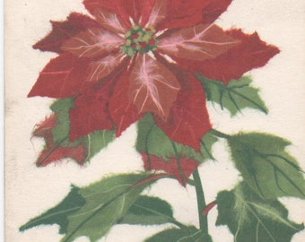 Used Christmas card, Poinsettia blossom, Hallmark, c1980s, good shape